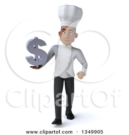 Clipart of a 3d Young Black Male Chef Holding a Dollar Symbol and Walking - Royalty Free Illustration by Julos
