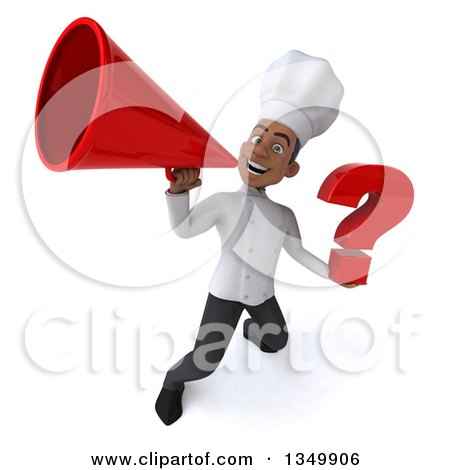Clipart of a 3d Young Black Male Chef Holding a Question Mark and Using a Megaphone - Royalty Free Illustration by Julos