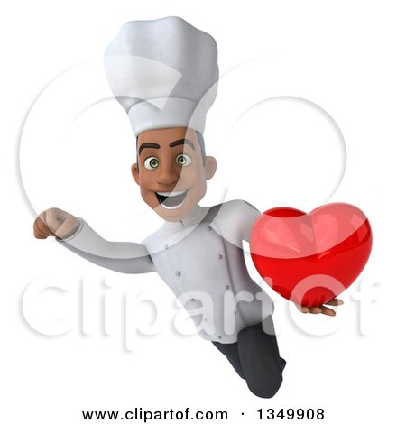 Clipart of a 3d Young Black Male Chef Holding a Love Heart and Flying - Royalty Free Illustration by Julos