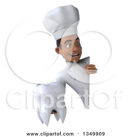 Clipart of a 3d Young Black Male Chef Holding a Tooth Around a Sign - Royalty Free Illustration by Julos