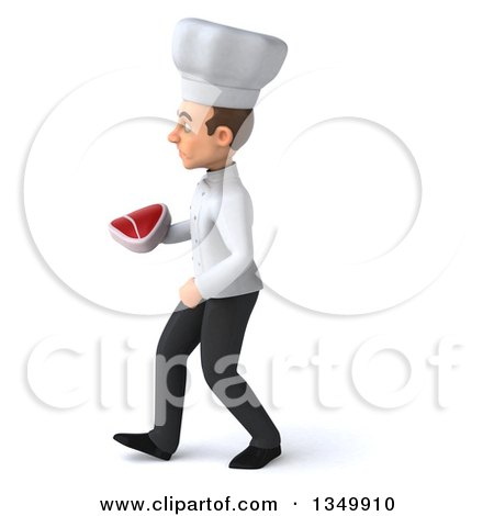 Clipart of a 3d Young White Male Chef Holding a Beef Steak and Walking to the Left - Royalty Free Illustration by Julos