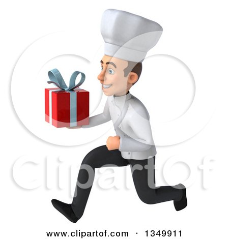 Clipart of a 3d Young White Male Chef Holding a Gift and Sprinting to the Left - Royalty Free Illustration by Julos