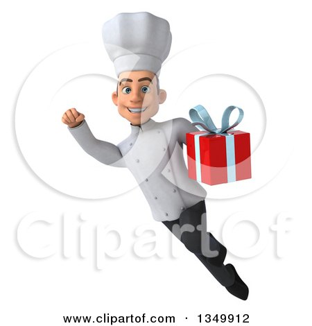 Clipart of a 3d Young White Male Chef Holding a Gift and Flying - Royalty Free Illustration by Julos