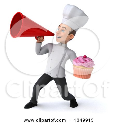 Clipart of a 3d Young White Male Chef Holding a Cupcake and Using a Megaphone - Royalty Free Illustration by Julos