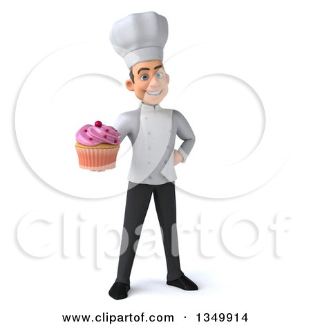 Clipart of a 3d Young White Male Chef Holding a Cupcake - Royalty Free Illustration by Julos