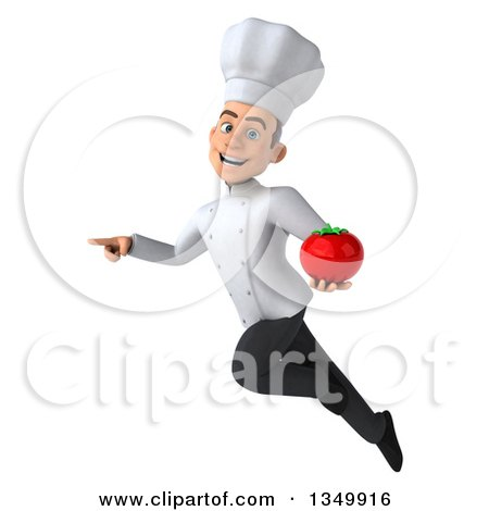 Clipart of a 3d Young White Male Chef Holding a Tomato, Flying and Pointing - Royalty Free Illustration by Julos
