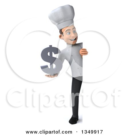 Clipart of a 3d Full Length Young White Male Chef Holding a Dollar Currency Symbol Around a Sign - Royalty Free Illustration by Julos