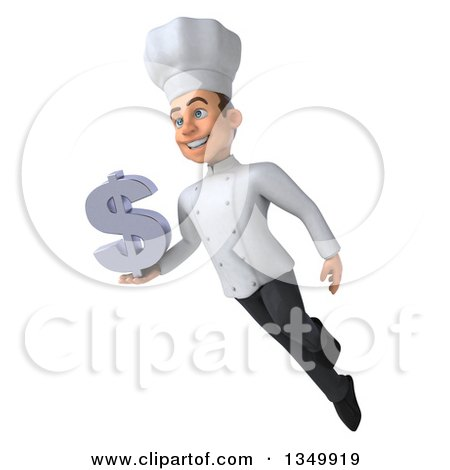 Clipart of a 3d Young White Male Chef Holding a Dollar Currency Symbol and Flying - Royalty Free Illustration by Julos