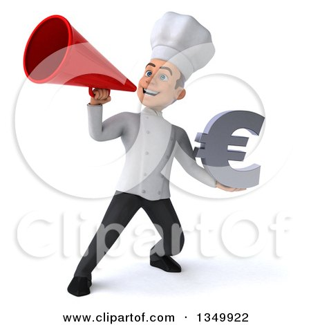 Clipart of a 3d Young White Male Chef Holding a Euro Currency Symbol and Using a Megaphone - Royalty Free Illustration by Julos