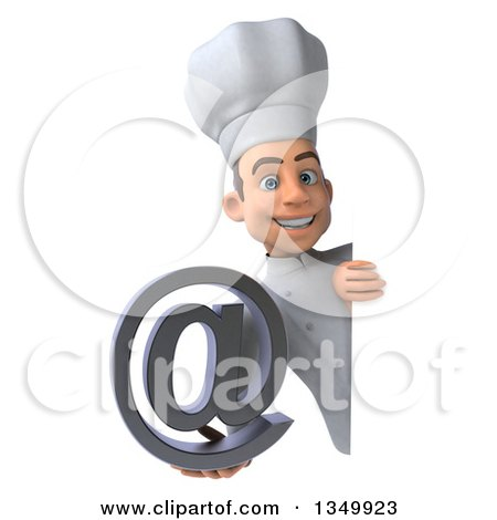 Clipart of a 3d Young White Male Chef Holding an Email Arobase at Symbol Around a Sign - Royalty Free Illustration by Julos