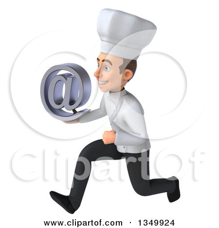 Clipart of a 3d Young White Male Chef Holding an Email Arobase at Symbol and Sprinting to the Left - Royalty Free Illustration by Julos