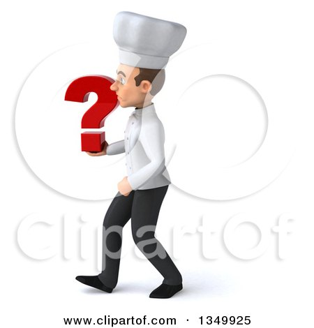 Clipart of a 3d Young White Male Chef Holding a Question Mark and Walking to the Left - Royalty Free Illustration by Julos