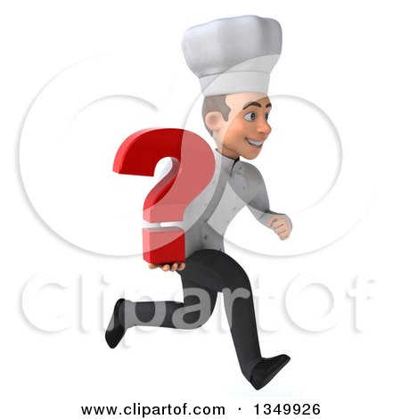 Clipart of a 3d Young White Male Chef Holding a Question Mark and Sprinting to the Right - Royalty Free Illustration by Julos