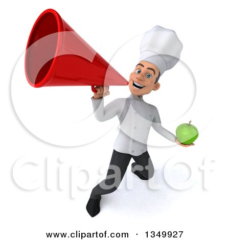 Clipart of a 3d Young White Male Chef Holding a Green Apple and Using a Megaphone - Royalty Free Illustration by Julos