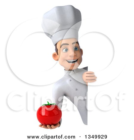 Clipart of a 3d Young White Male Chef Holding a Tomato Around a Sign - Royalty Free Illustration by Julos