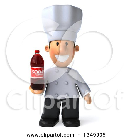 Clipart of a 3d Short White Male Chef Holding a Soda Bottle - Royalty Free Illustration by Julos
