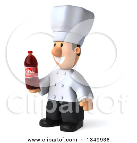 Clipart of a 3d Short White Male Chef Holding a Soda Bottle and Facing Left - Royalty Free Illustration by Julos