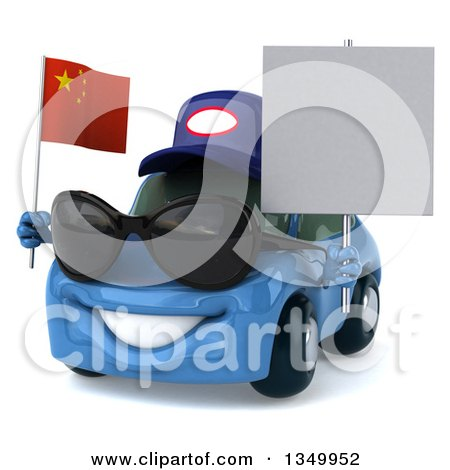 Clipart of a 3d Blue Porsche Mechanic Car Wearing Sunglasses, Facing Slightly Left, Holding a Blank Sign and a Chinese Flag - Royalty Free Illustration by Julos