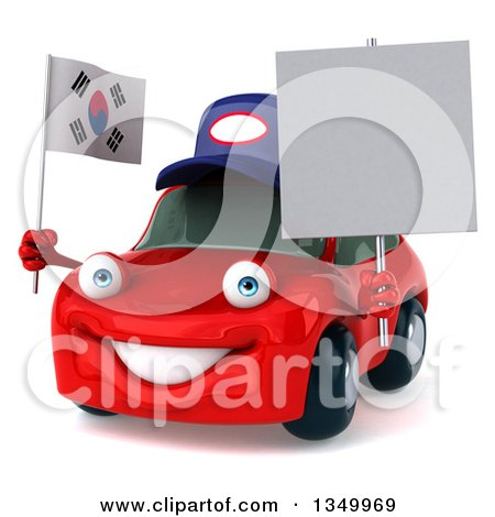 Clipart of a 3d Happy Red Porsche Car Mechanic Facing Slightly Left, Holding a Blank Sign and South Korean Flag - Royalty Free Illustration by Julos