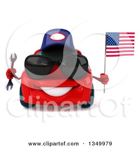 Clipart of a 3d Red Mechanic Porsche Car Wearing Sunglasses, Holding a Wrench and an American Flag - Royalty Free Illustration by Julos
