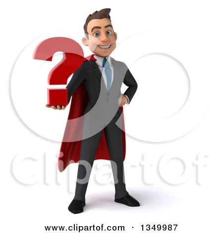 Clipart of a 3d Young Super White Business Man Holding a Question Mark - Royalty Free Illustration by Julos