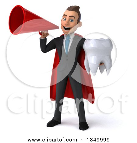 Clipart of a 3d Young Super White Business Man Holding a Tooth and Using a Megaphone - Royalty Free Illustration by Julos