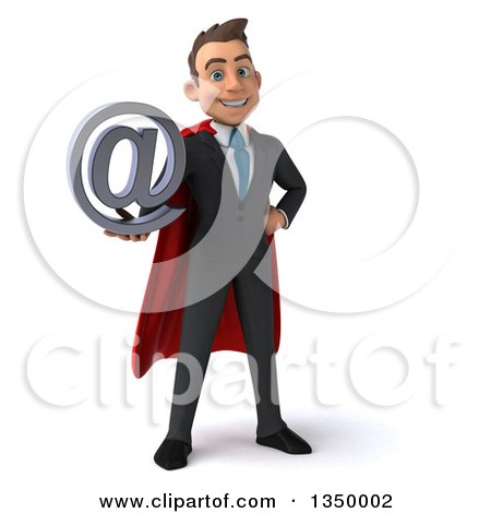 Clipart of a 3d Young Super White Business Man Holding an Email Arobase at Symbol - Royalty Free Illustration by Julos