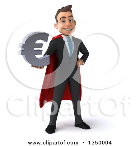 Clipart of a 3d Young Super White Business Man Holding a Euro Currency Symbol - Royalty Free Illustration by Julos