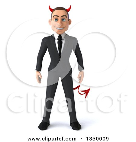 Clipart of a 3d Young White Devil Businessman - Royalty Free Illustration by Julos