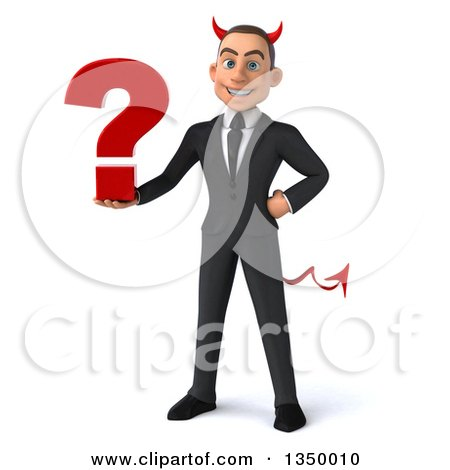 Clipart of a 3d Young White Devil Businessman Holding a Question Mark - Royalty Free Illustration by Julos