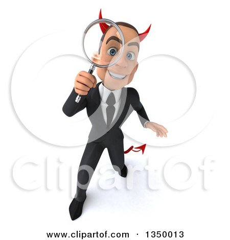 Clipart of a 3d Young White Devil Businessman Looking up and Searching with a Magnifying Glass - Royalty Free Illustration by Julos