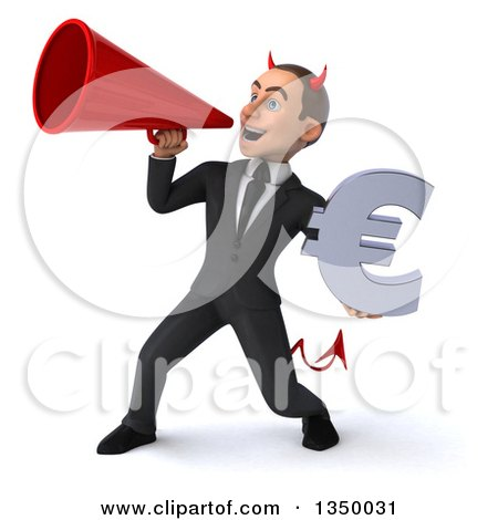 Clipart of a 3d Young White Devil Businessman Holding a Euro Currency Symbol and Using a Megaphone - Royalty Free Illustration by Julos