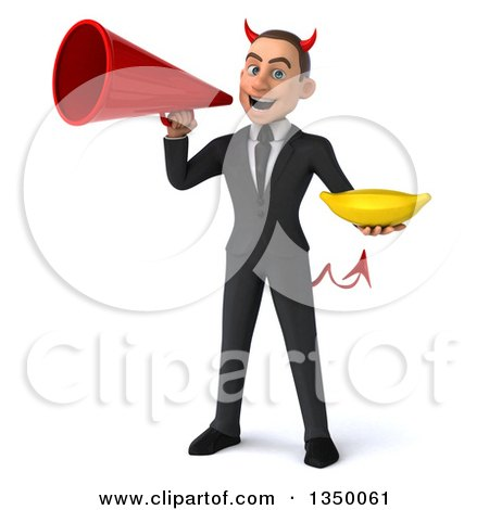Clipart of a 3d Young White Devil Businessman Holding a Banana and Using a Megaphone - Royalty Free Illustration by Julos
