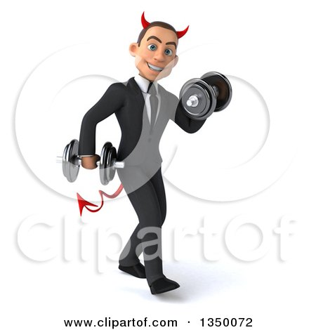 Clipart of a 3d Young White Devil Businessman Walking to the Right, Doing Bicep Curls and Working out with Dumbbells - Royalty Free Illustration by Julos