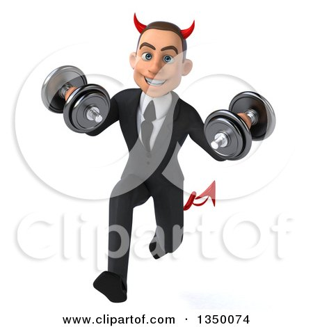 Clipart of a 3d Young White Devil Businessman Working out and Running with Dumbbells - Royalty Free Illustration by Julos