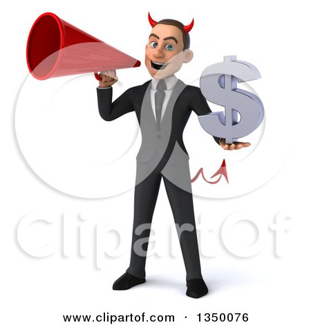 Clipart of a 3d Young White Devil Businessman Holding a Dollar Currency Symbol and Using a Megaphone - Royalty Free Illustration by Julos