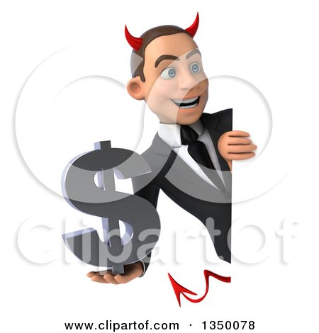 Clipart of a 3d Young White Devil Businessman Holding a Dollar Currency Symbol Around a Sign - Royalty Free Illustration by Julos