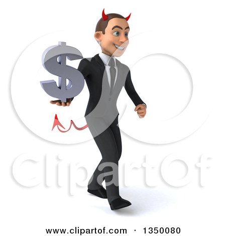 Clipart of a 3d Young White Devil Businessman Holding a Dollar Currency Symbol and Walking to the Right - Royalty Free Illustration by Julos