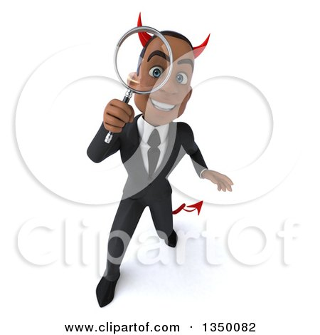 Clipart of a 3d Young Black Devil Businessman Looking up and Searching with a Magnifying Glass - Royalty Free Illustration by Julos