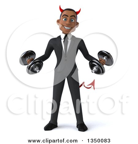 Clipart of a 3d Young Black Devil Businessman Working out with Dumbbells - Royalty Free Illustration by Julos