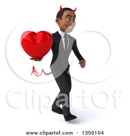 Clipart of a 3d Young Black Devil Businessman Holding a Love Heart and Walking to the Right - Royalty Free Illustration by Julos