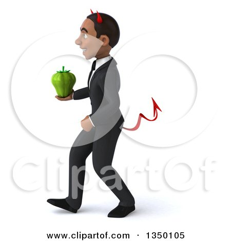 Clipart of a 3d Young Black Devil Businessman Holding a Green Bell Pepper and Walking to the Left - Royalty Free Illustration by Julos