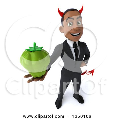 Clipart of a 3d Young Black Devil Businessman Holding up a Green Bell Pepper - Royalty Free Illustration by Julos