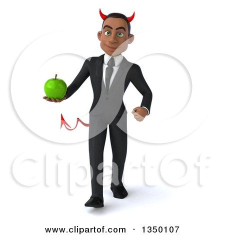 Clipart of a 3d Young Black Devil Businessman Holding a Green Apple and Walking - Royalty Free Illustration by Julos