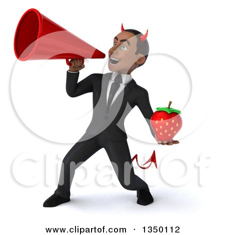 Clipart of a 3d Young Black Devil Businessman Holding a Strawberry and Using a Megaphone - Royalty Free Illustration by Julos