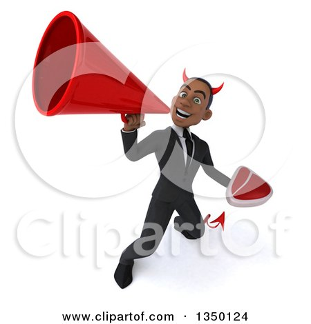 Clipart of a 3d Young Black Devil Businessman Holding a Beef Steak and Using a Megaphone - Royalty Free Illustration by Julos