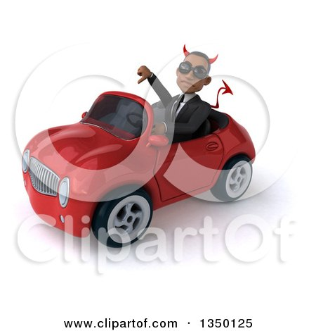 Clipart of a 3d Young Black Devil Businessman Wearing Sunglasses, Giving a Thumb down and Driving a Red Convertible Car to the Left - Royalty Free Illustration by Julos