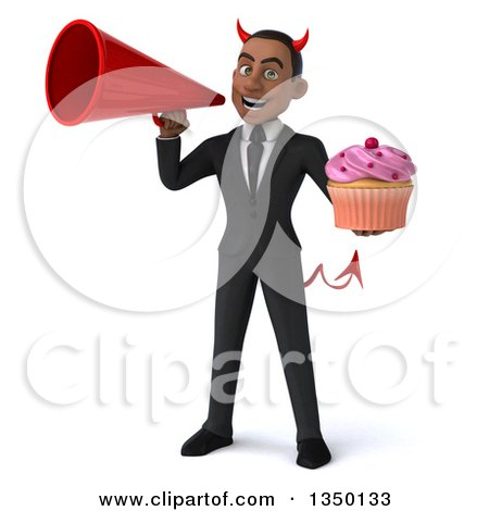 Clipart of a 3d Young Black Devil Businessman Holding a Cupcake and Using a Megaphone - Royalty Free Illustration by Julos