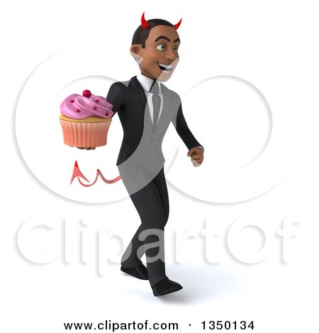 Clipart of a 3d Young Black Devil Businessman Holding a Cupcake and Walking to the Right - Royalty Free Illustration by Julos