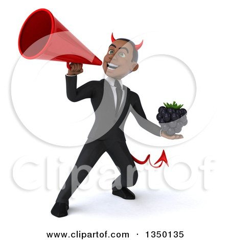 Clipart of a 3d Young Black Devil Businessman Holding a Blackberry and Using a Megaphone - Royalty Free Illustration by Julos